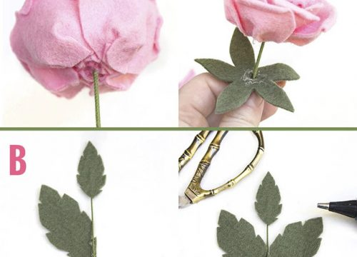 Nếu bạn không bắt đầu cắm hoa hồng trên thân cây (như được giải thích bên dưới với nụ hoa hồng), hãy chèn dây hoa dày hơn vào giữa và cố định bằng một chút keo.